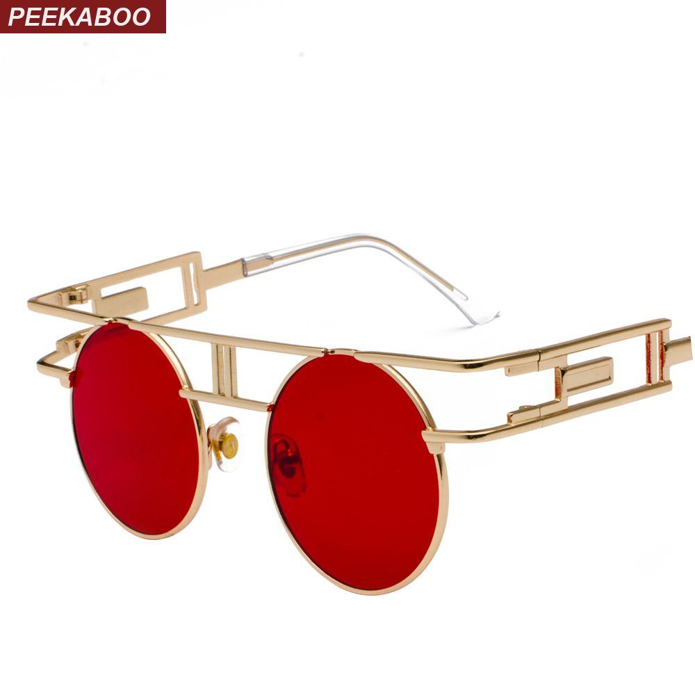 f70bc20b3 Peekaboo vintage gothic steampunk sunglasses men retro round metal frame  yellow red circle sun glasses for