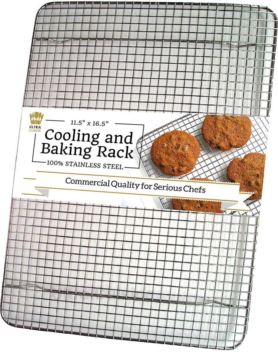 Ultra Cuisine 100% Stainless Steel Wire Cooling Rack for Baking fits ...