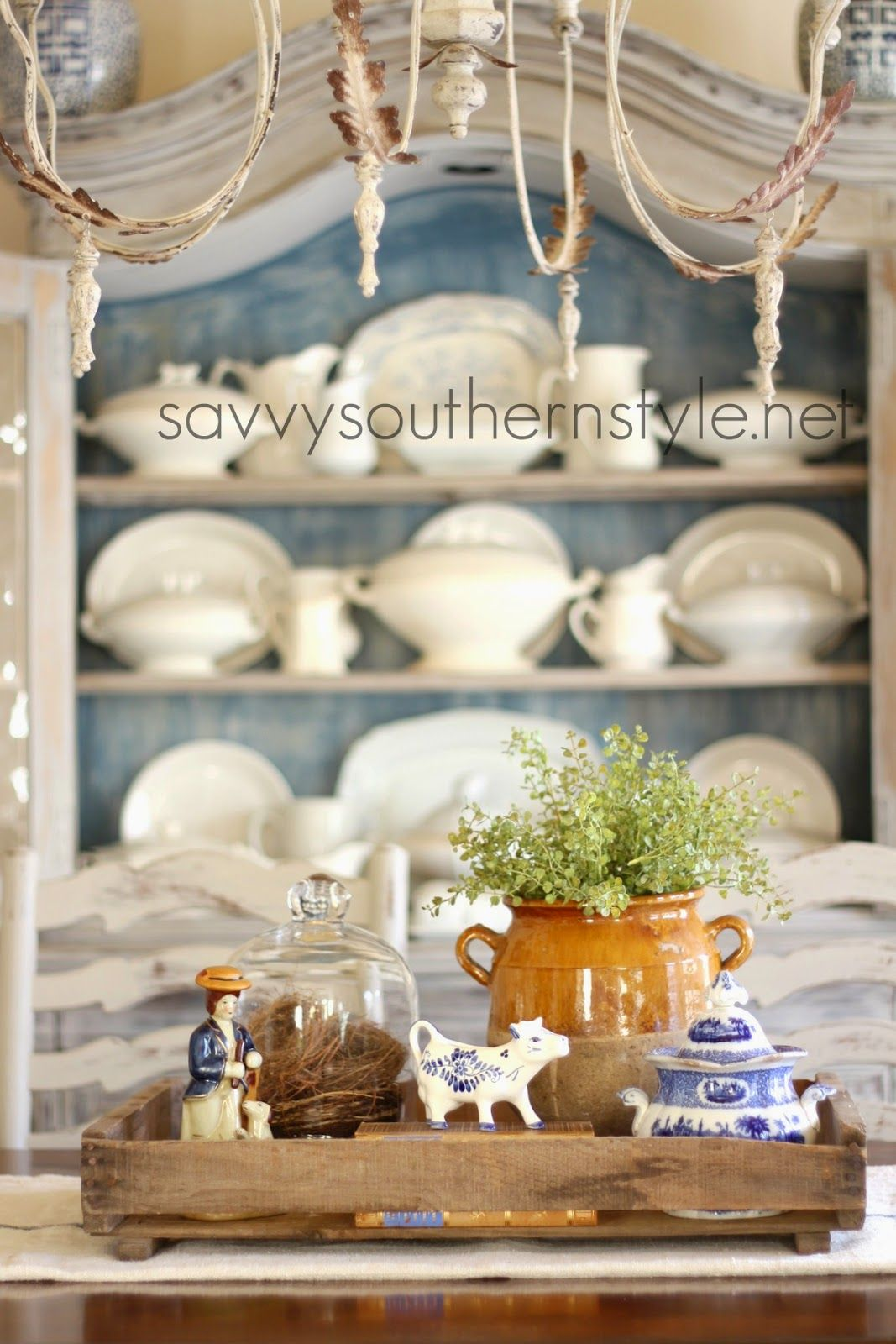 French Country Decor, Dining Room, Ironstone, Vintage Crate, Confit Pot,  Vignette