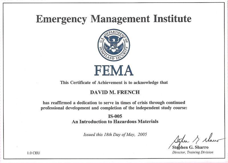 IS-00005 - Intro to Hazardous Materials | FEMA Certificates | Report