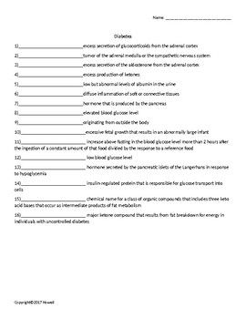 photograph about Printable Nutrition Quiz called Diabetic issues Quiz or Worksheet for Vitamins and Exercise College students