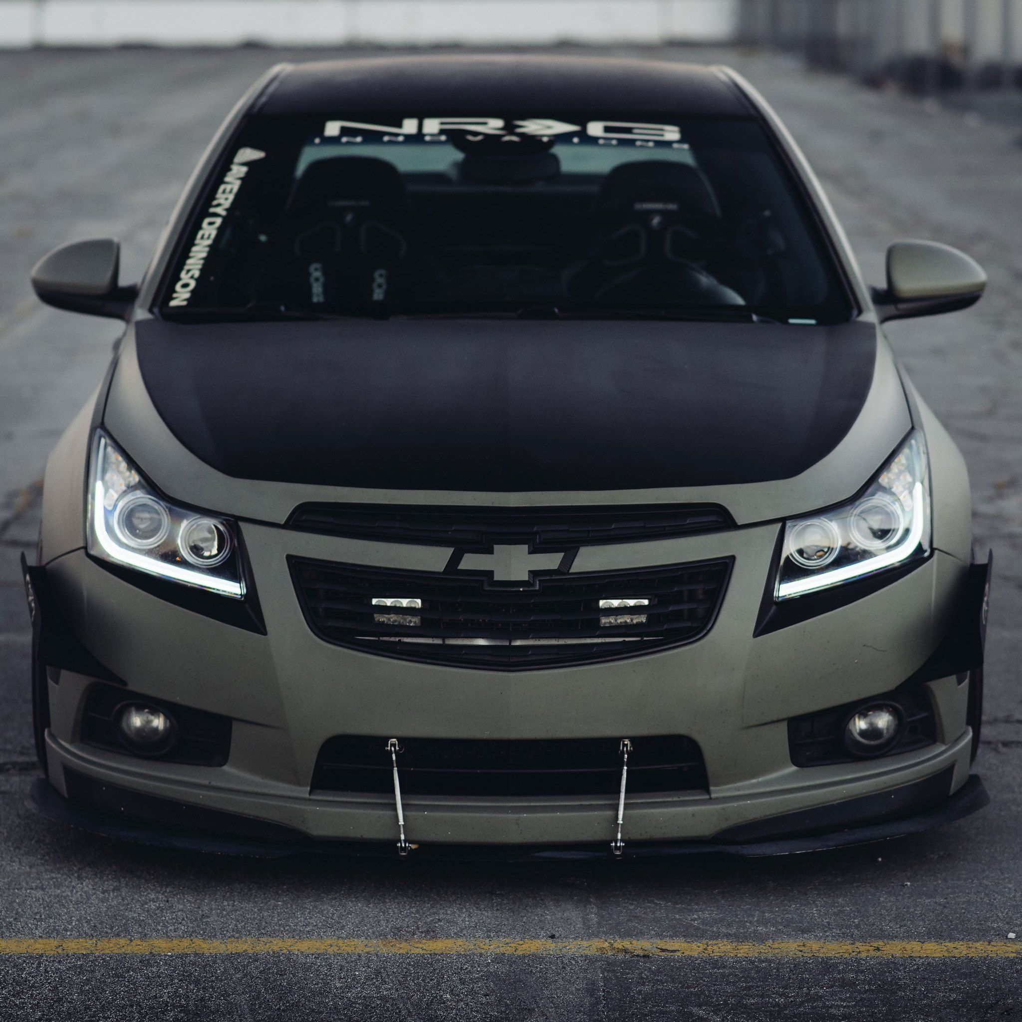 Stanced Matte Green Chevy Cruze On Deep Dish Klutch Wheels Chevy Cruze Chevrolet Cruze Cruze