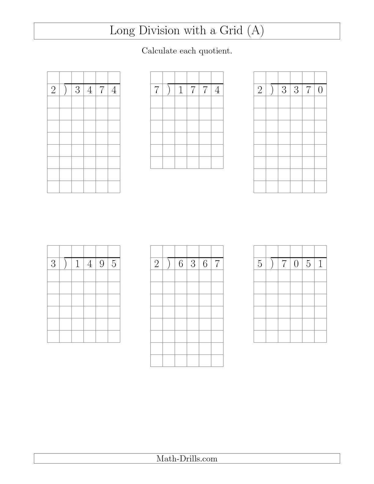 Long Division with Grid Assistance by with Remainders (A) Math Worksheet