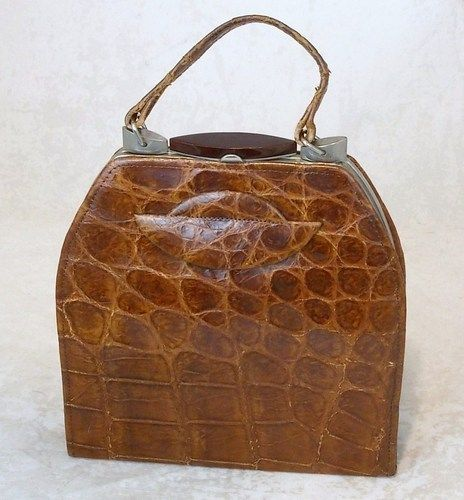 French Vintage 1930s 40s Genuine Crocodile Handbag Crocodylus Porosus Ebay