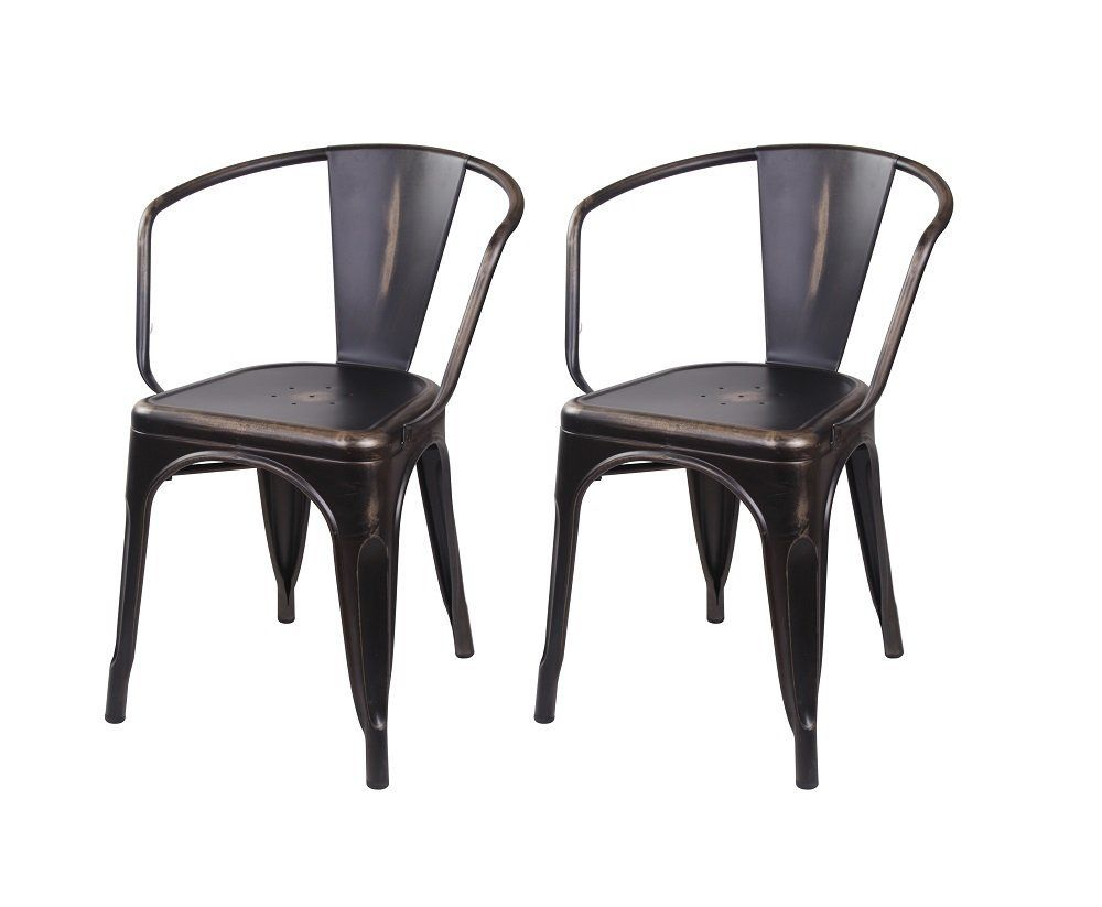 Amazon Com Gia Metal Dining Chairs With Back Set Of 2 Antique