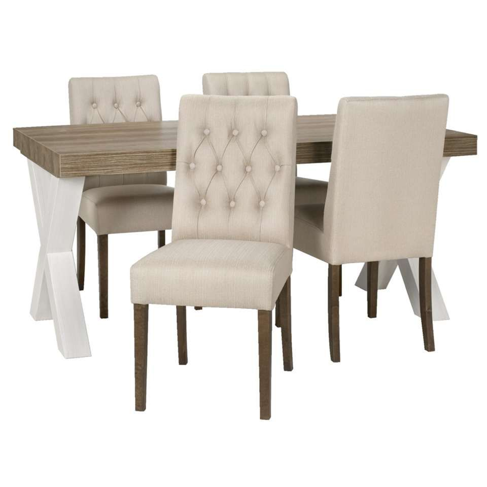 Eetkamertafel lynn met 4 stoelen sinatra beige leen bakker keuken pinterest - Kitchenette met stoelen ...
