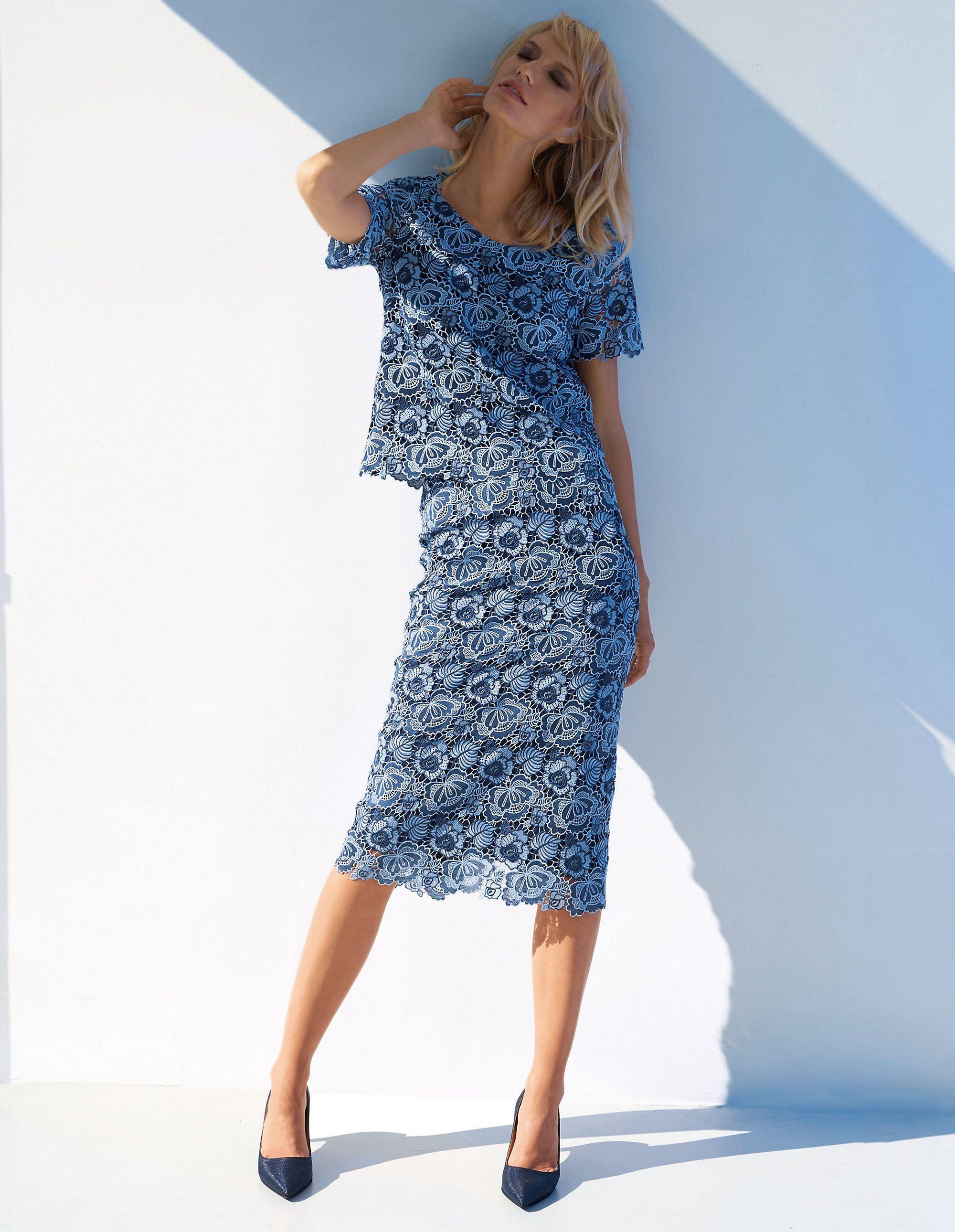 Steps jurk met kanten rok grijs