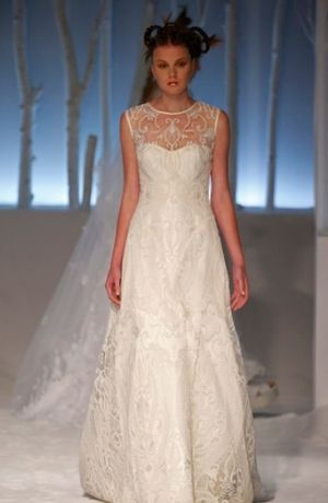 David Fielden Illusion A Line Gown In Embroidery