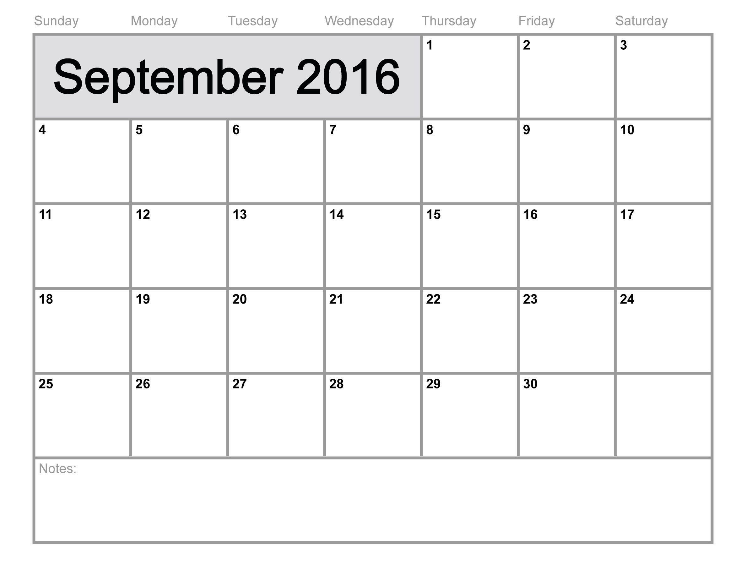 Free download September 2016 calendar template printable from – Free Blank Calendar