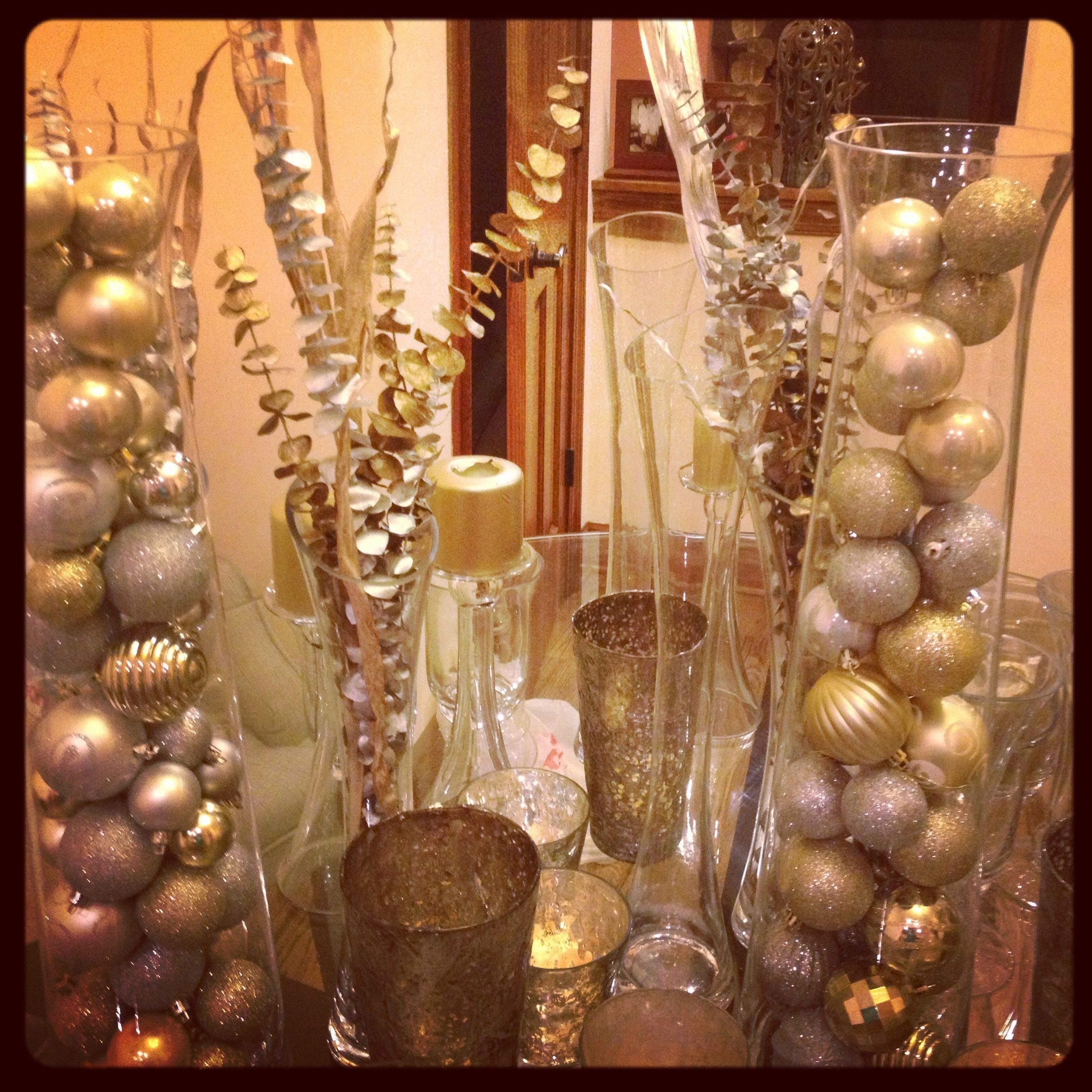 Silver And Gold Ornament Centerpieces For The Holidays Christmas