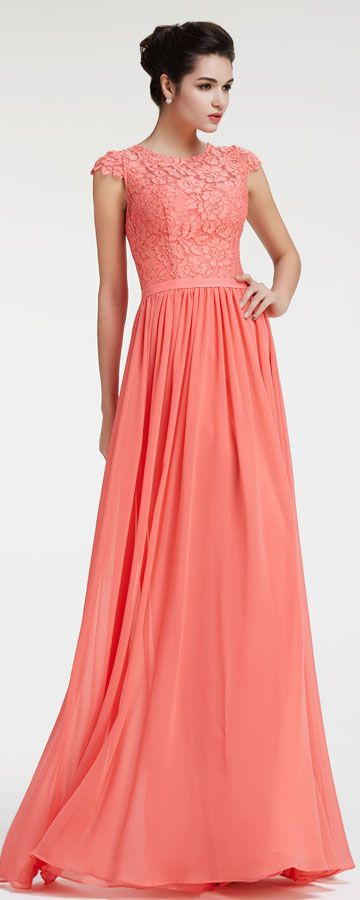 Lace chiffon modest coral bridesmaid dresses cap sleeves for Plus size coral dress for wedding