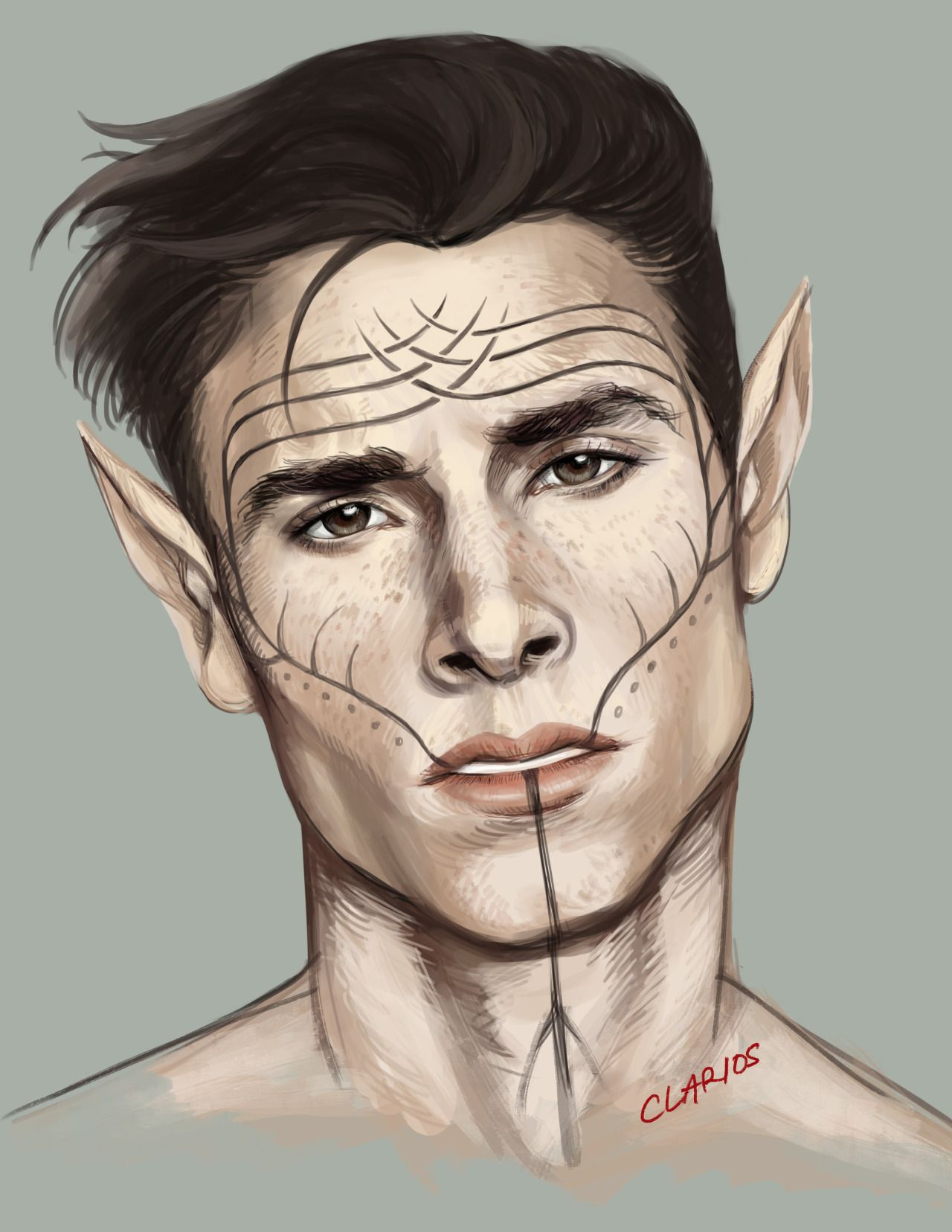 not dead yet, still drawing working through major artblock so just doing test pieces should add more freckles but have as of yet nameless dalish sexpot OC