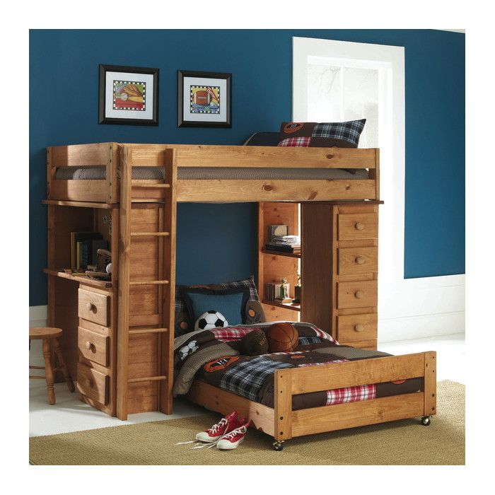 Wildon Home ® Ashley Twin Over Twin Loft Bed with Desk & Reviews | Wayfair
