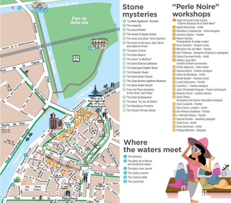 Agde city center map Maps Pinterest City and France