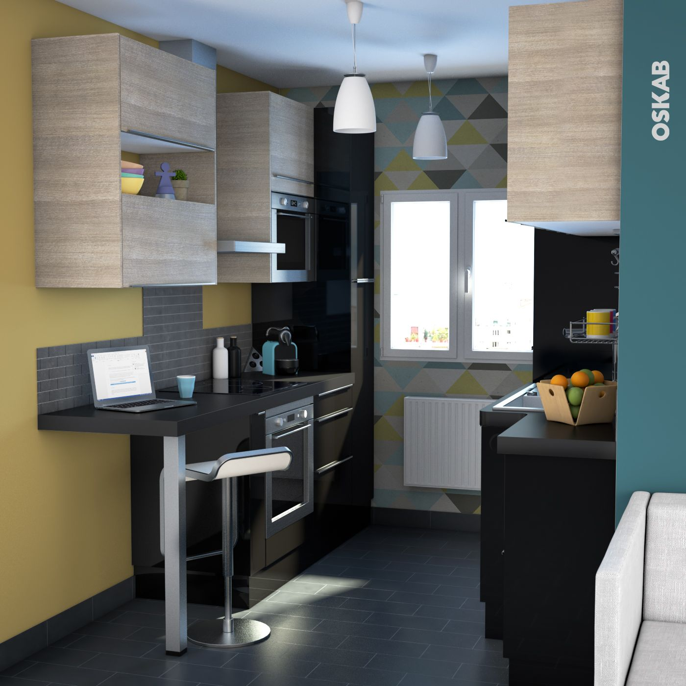 cuisine noire et bois ouverte ambiance tendance graphique implantation en double i. Black Bedroom Furniture Sets. Home Design Ideas