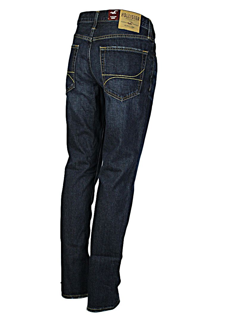 Hollister Men's Jeans Skinny Fitting dark indigo denims with engraved studs and buttons tough wearing denims and are really stylish. Waist 32 - Leg Length - 30 Inches - Hem Width 7 Inches www.puckerclothinguk.com