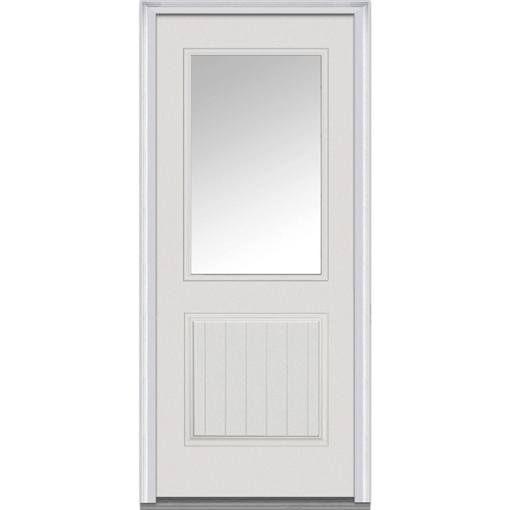 Mmi Door 36 In X 80 In Clear Left Hand 1 2 Lite 1 Panel Planked Classic Primed Fiberglass Smooth Prehung Front Door Z000378l The Home Depot Front Door Mmi Door Prehung Doors