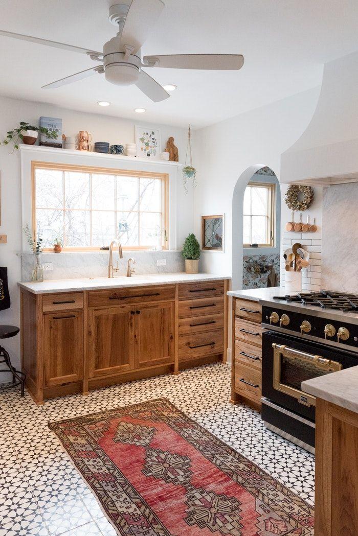 Patterned Tile Floor! Modern Tudor Kitchen Patterned