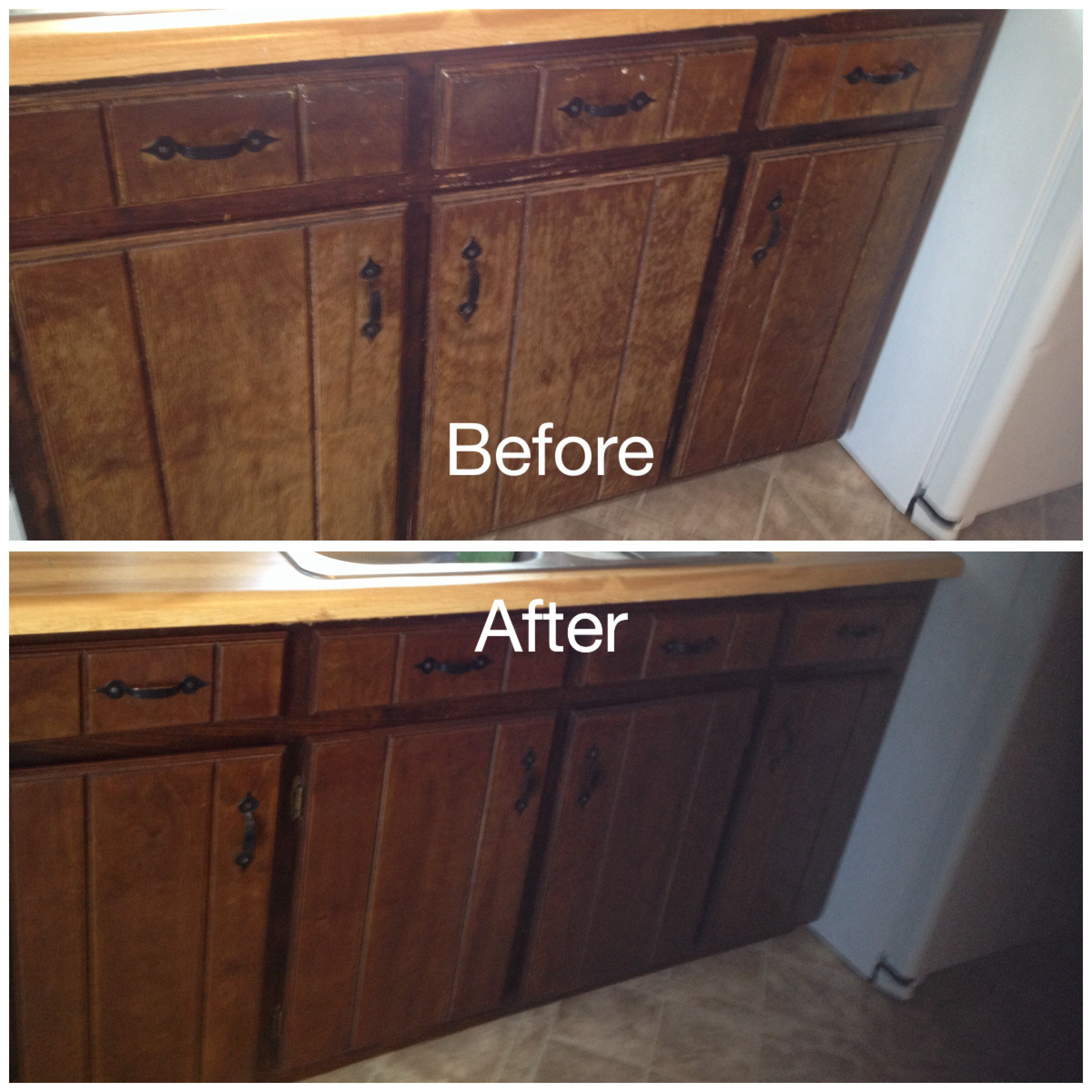 sanding and restaining kitchen cabinets beach house backsplash ideas my worn stained with minwax gel stain in hickory removed doors hinges lightly sanded brushed on wiped off rag