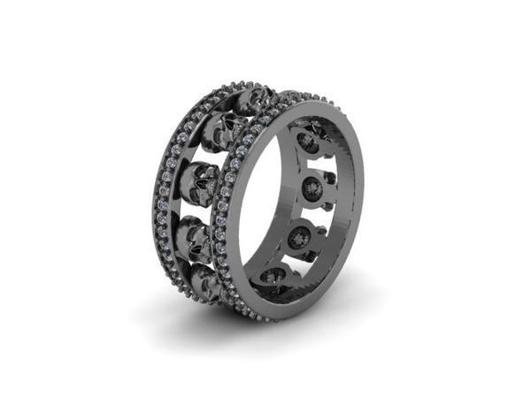 Mens Skull Eternity Wedding Band 14k Black Gold With Stones Udinc0535 Mens Wedding Bands Diamond Skull Custom Mens Wedding Rings