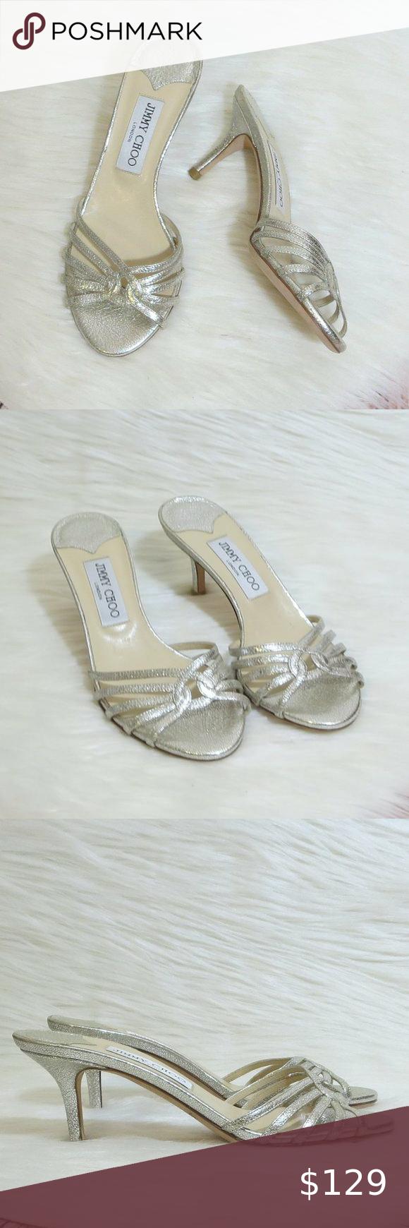 Jimmy Choo Metallic Silver Slip On Heels In 2020 Jimmy Choo Shoes Heels Shoes Women Heels Heels