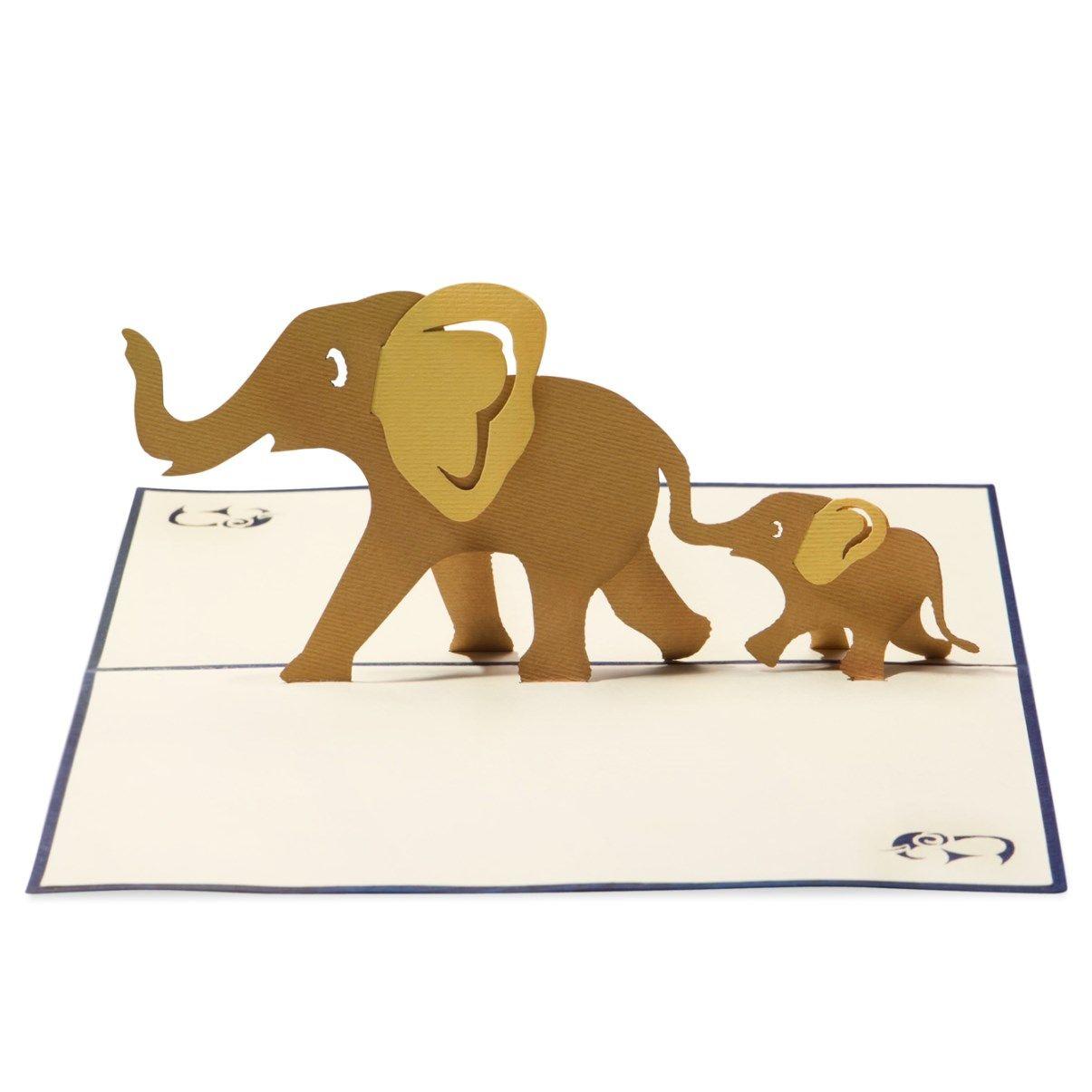 Elephant Family Elephant Family Elephant Dog Birthday Card