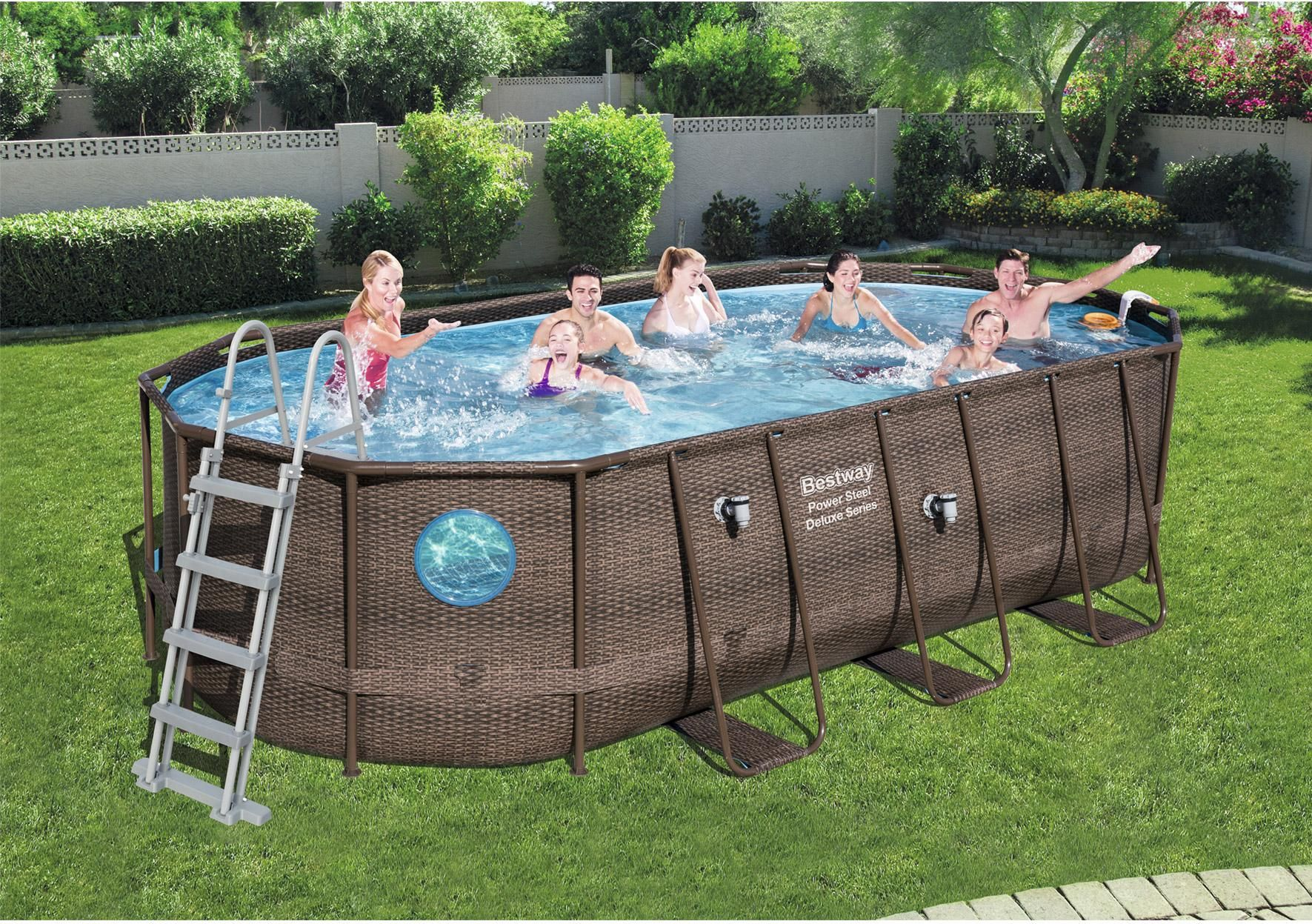 Piscine Hors Sol Tubulaire Swim Vista Pool Bestway L 5 49 X L 3 41 X H 1 22 M Piscine Tubulaire Piscine Piscine Ovale