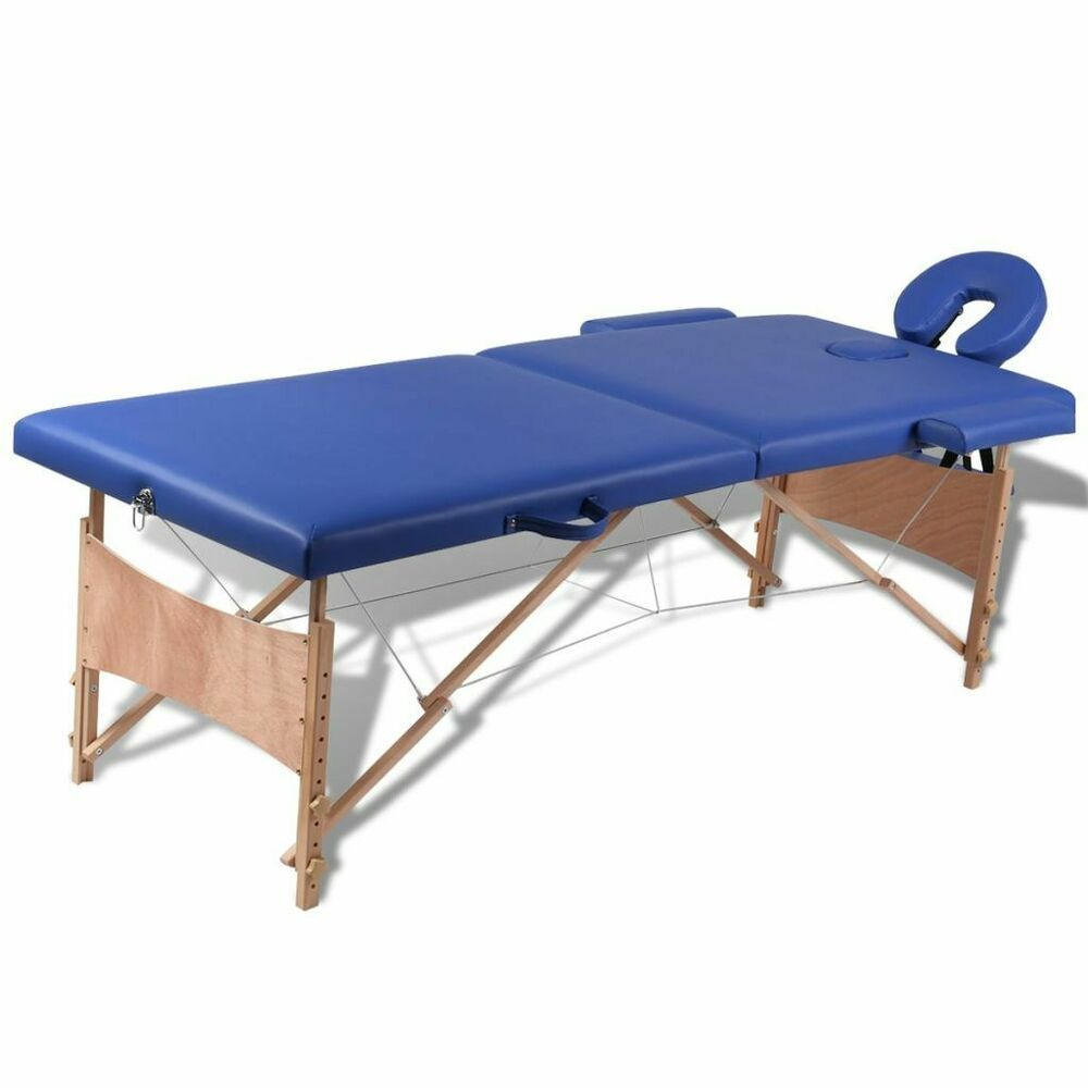 Bleu massage Lit Massage Table de Pliante de vidaXL 2 Zones bfyvY7g6