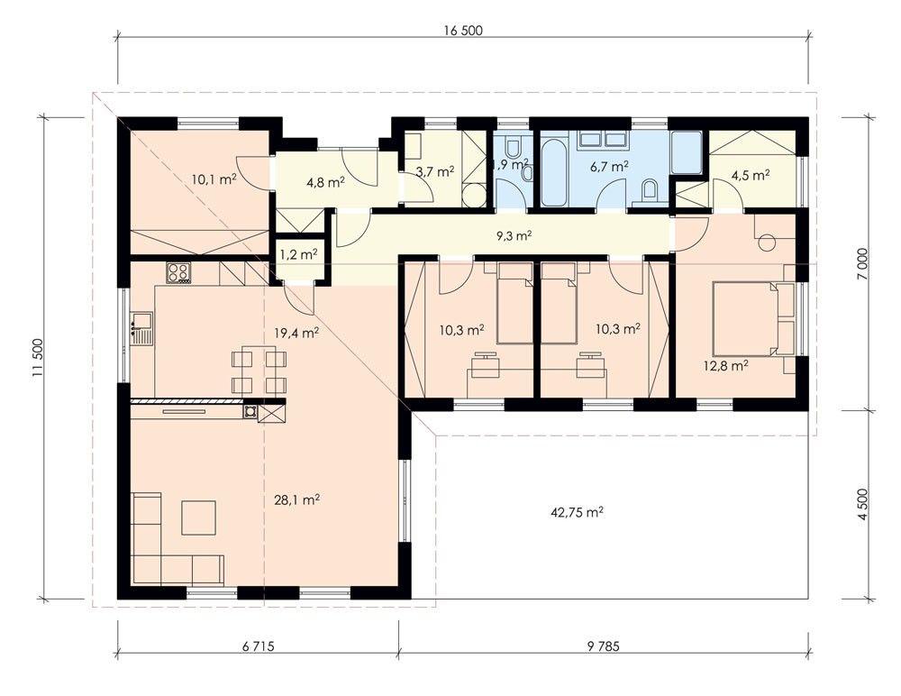 Podorys Domu Tvar L Hľadať Googlom Podorys House Plans House