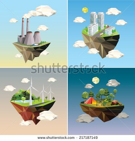 Eco island. Illustration of green energy for the house on a small plot of land. - stock vector