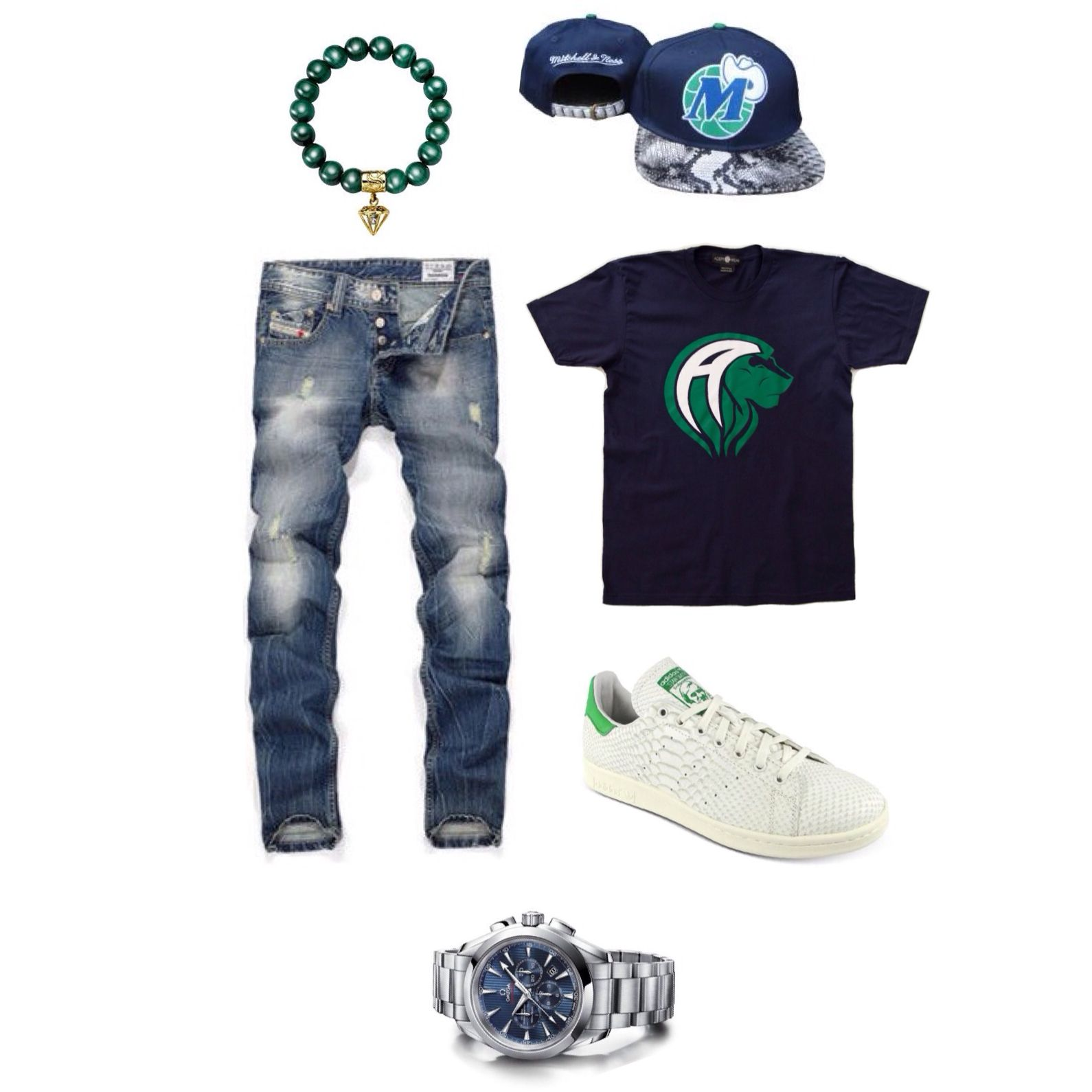 Men's Fashion Outfit = Adept Wear - Simmons Jewelry Co - Mitchell & Ness -  Fashion