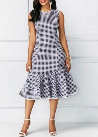 5379522c123 rotita.com - unsigned Printed Peplum Hem Sleeveless Round Neck Dress -  AdoreWe.com