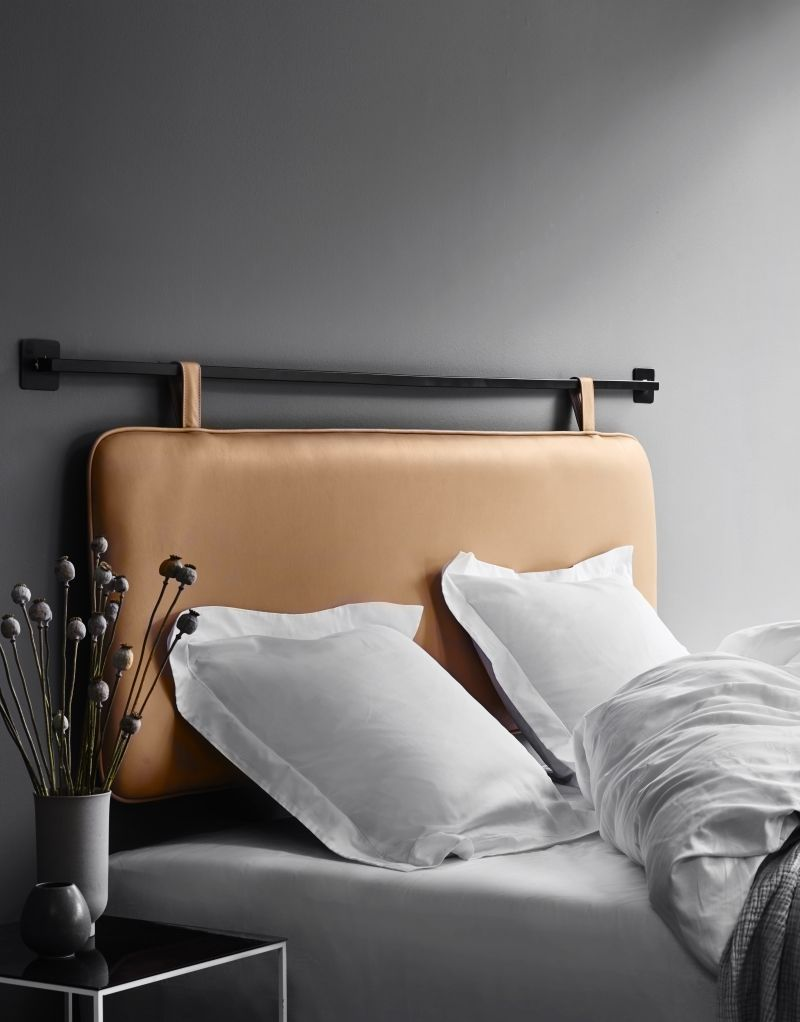 The M Headboard Is Made In The Finest Semi Aniline Leather Two