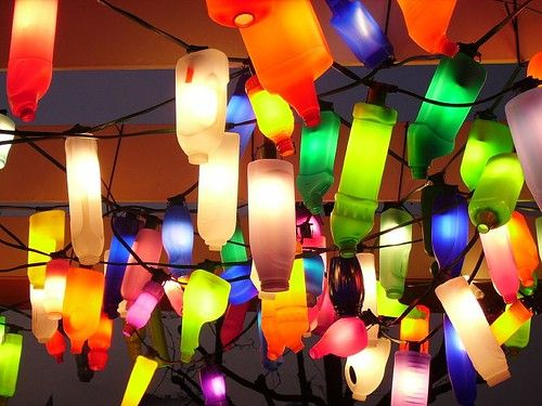 Upcycling plastic bottles using an led xmas light strand pretty upcycling plastic bottles using an led xmas light strand pretty colors outdoor party lights aloadofball Choice Image