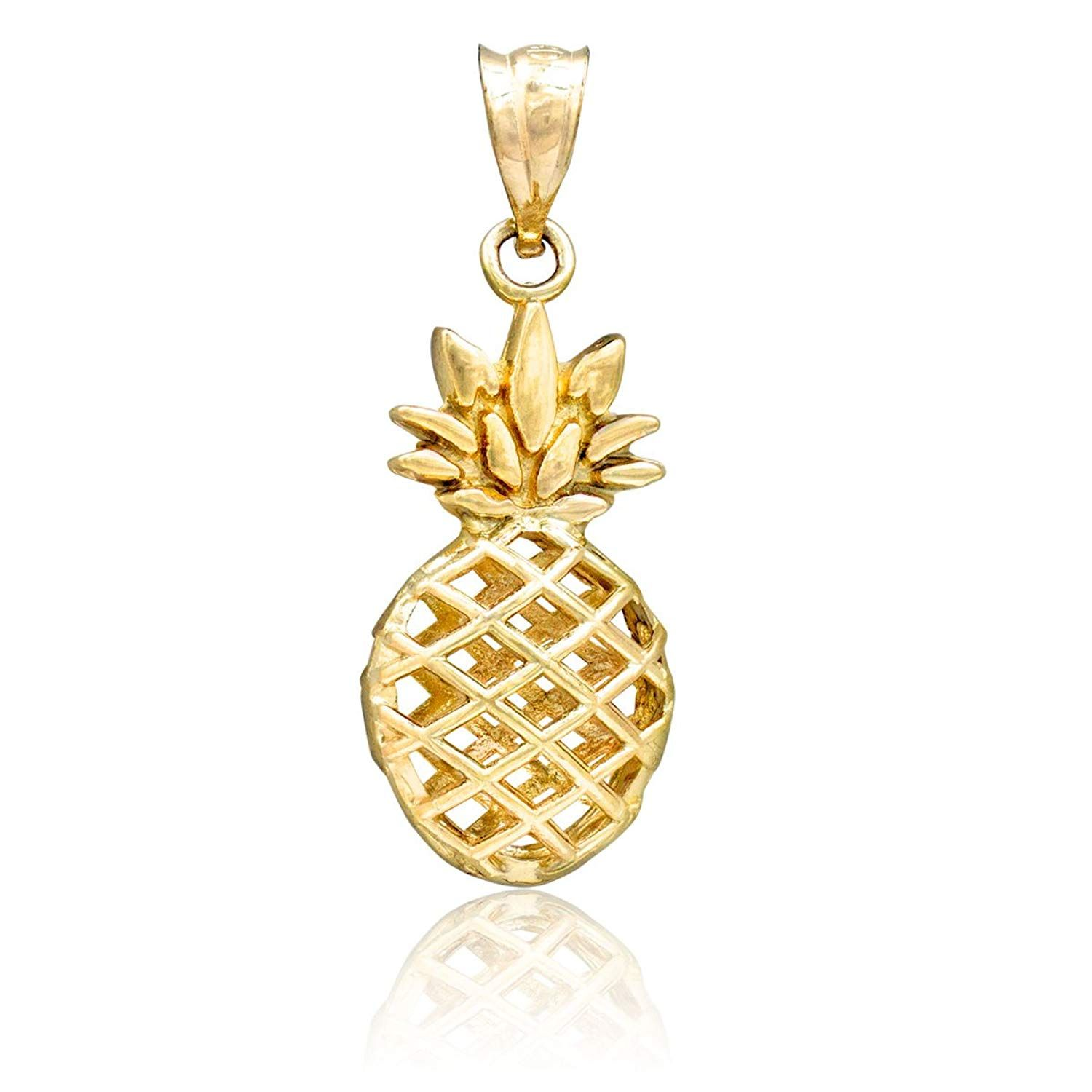 Honolulu Jewelry Company 14k Yellow Gold Pineapple Necklace Pendant Nice Of You To Drop By To S Pineapple Necklace Gold Pineapple Necklace Jewelry Companies