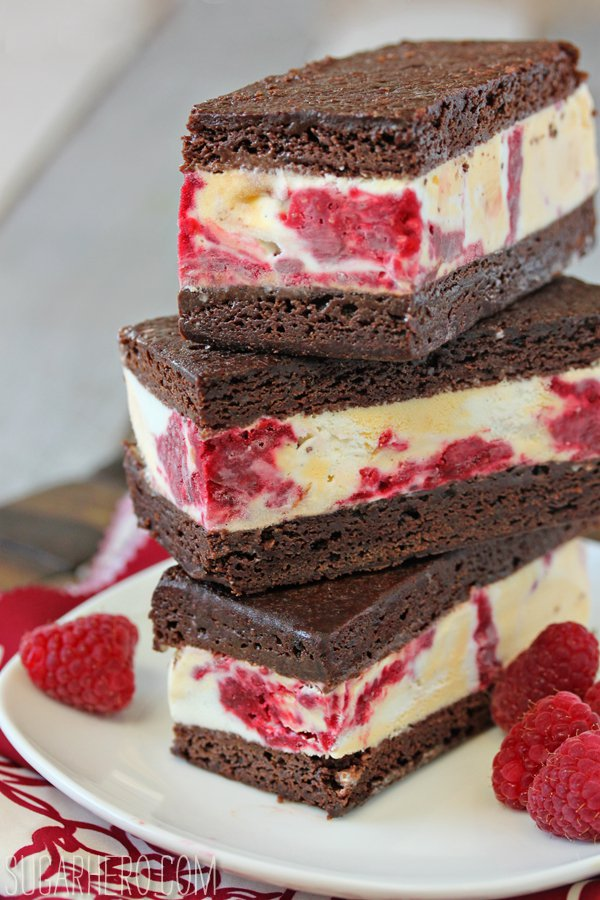 Brownie Raspberry Swirl Ice Cream Sandwiches