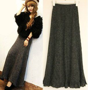 autumn and winter skirt vintage A-line ruffle bottom fashion ...