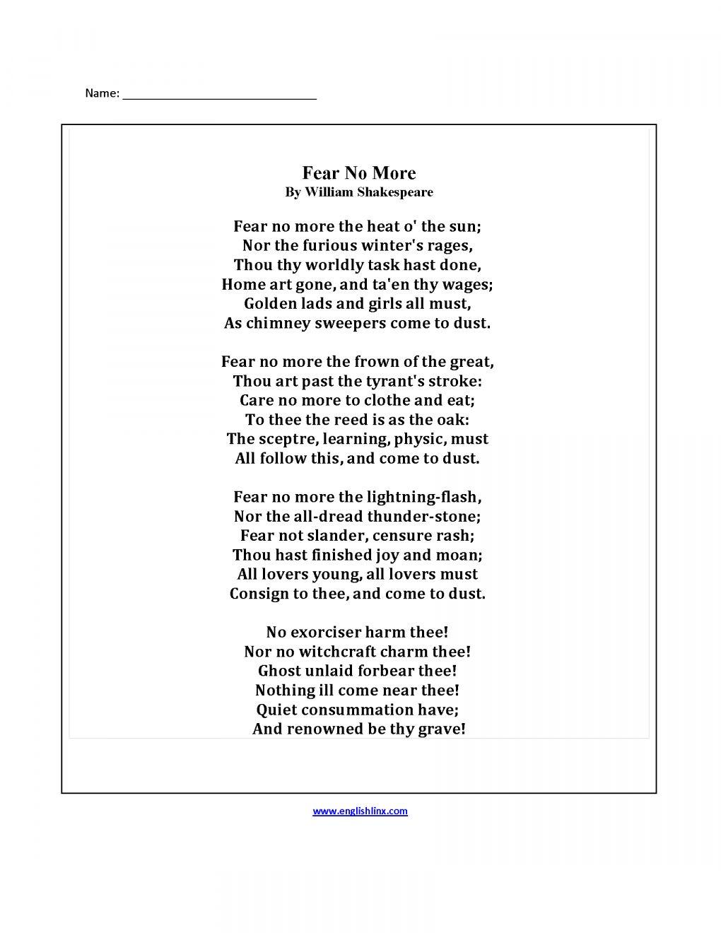 9 5th Grade Worksheet Finish Poem Poetry Worksheets Poetry Poems