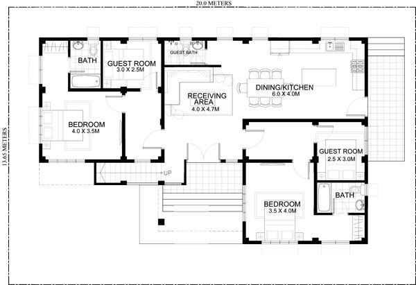 Rey Four Bedroom One Storey With Roof Deck Shd 2015021 Pinoy Eplans Four Bedroom House Plans One Storey House Free Floor Plans