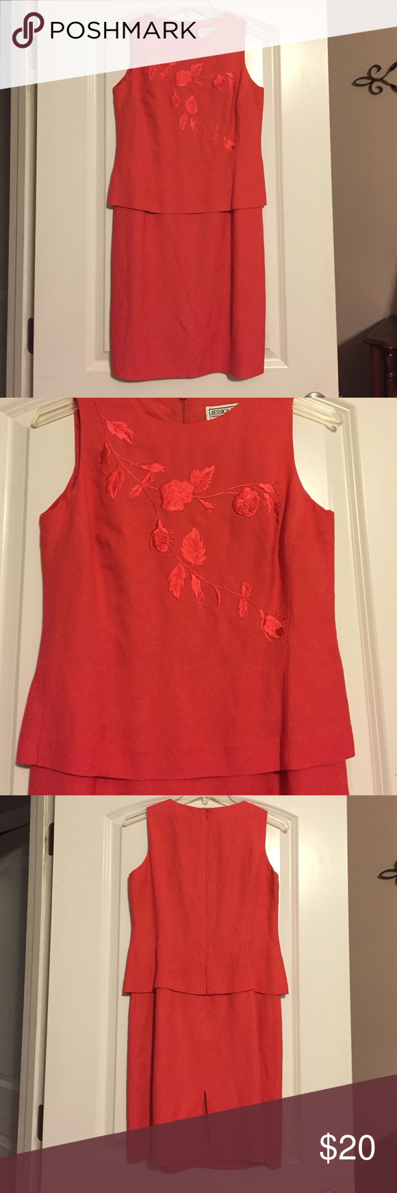Jessica Howard Petite dress Beautiful coral w/embroidered design, flattering faux 2 piece look, back zipper, kick pleat, 55/45 linen/rayon, fully lined w/100% polyester lining, 4P, pre loved Jessica Howard Dresses