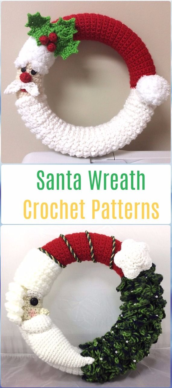Crochet Santa and Christmas Tree Wreath Paid Pattern - Crochet Santa ...