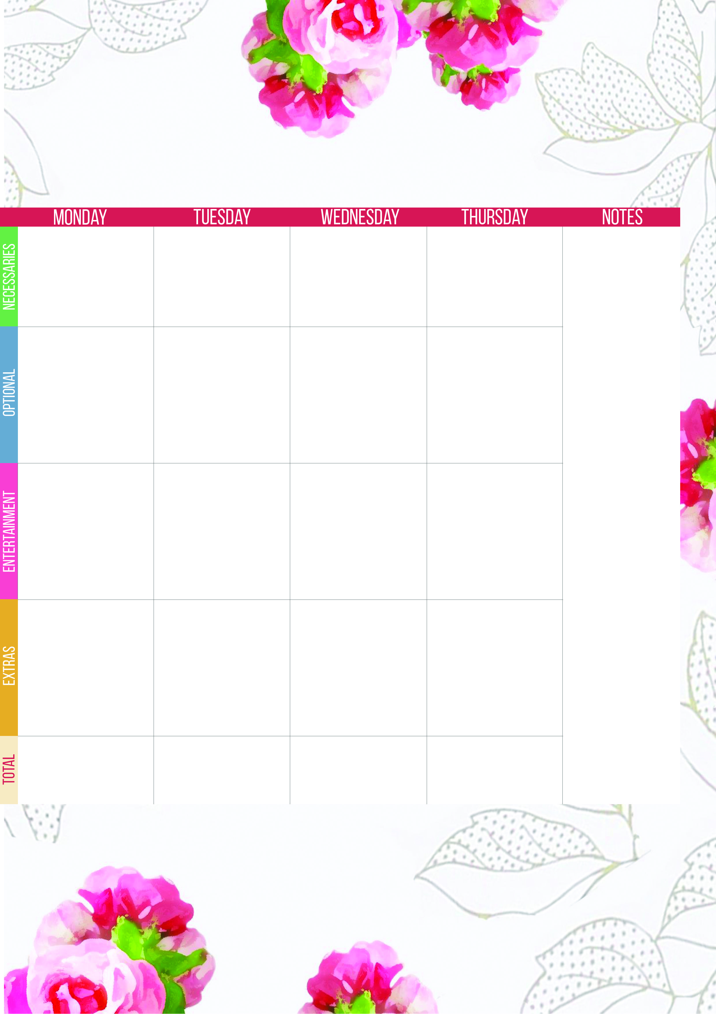 Free Printable Weekly Perpetual Budget Planner