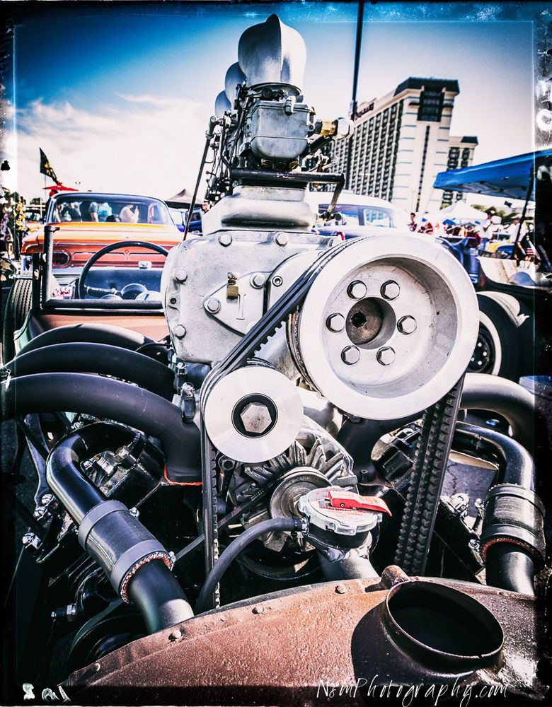 12x18 in B/&W Poster Blown Nailhead Engine Vintage Hot Rod Garage Art Man Cave