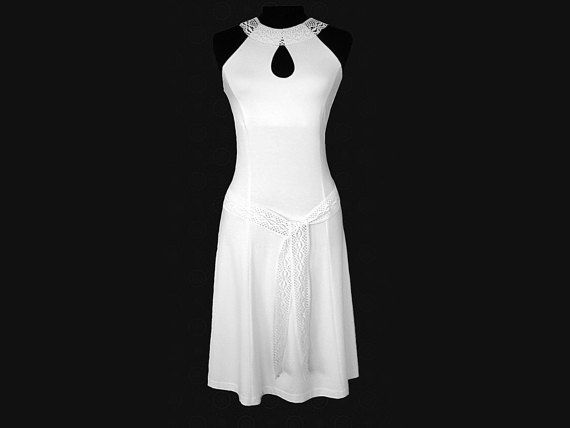 Halter dress with keyhole linen lace midi dress by MargoMarlin