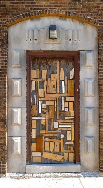 Cls An Anonymous Chicago Scrap Wood Sculptor Has Been Placing His Or Her Scrap Wood Assemblage Pieces On Plywood Pa Cool Doors Beautiful Doors Unique Doors