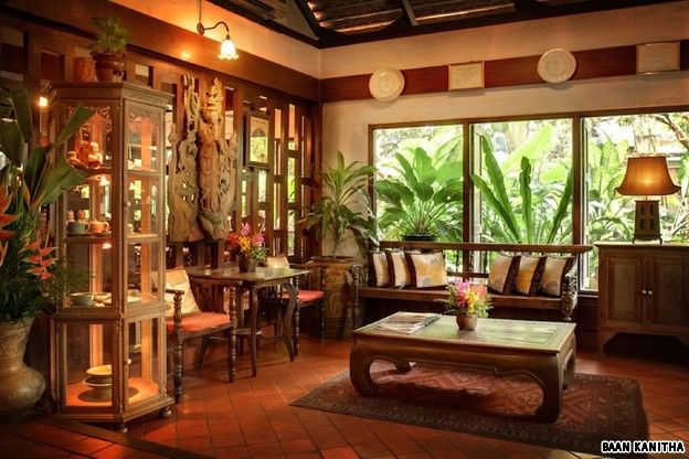 Wooden style living room living and dining room for Thai style house design