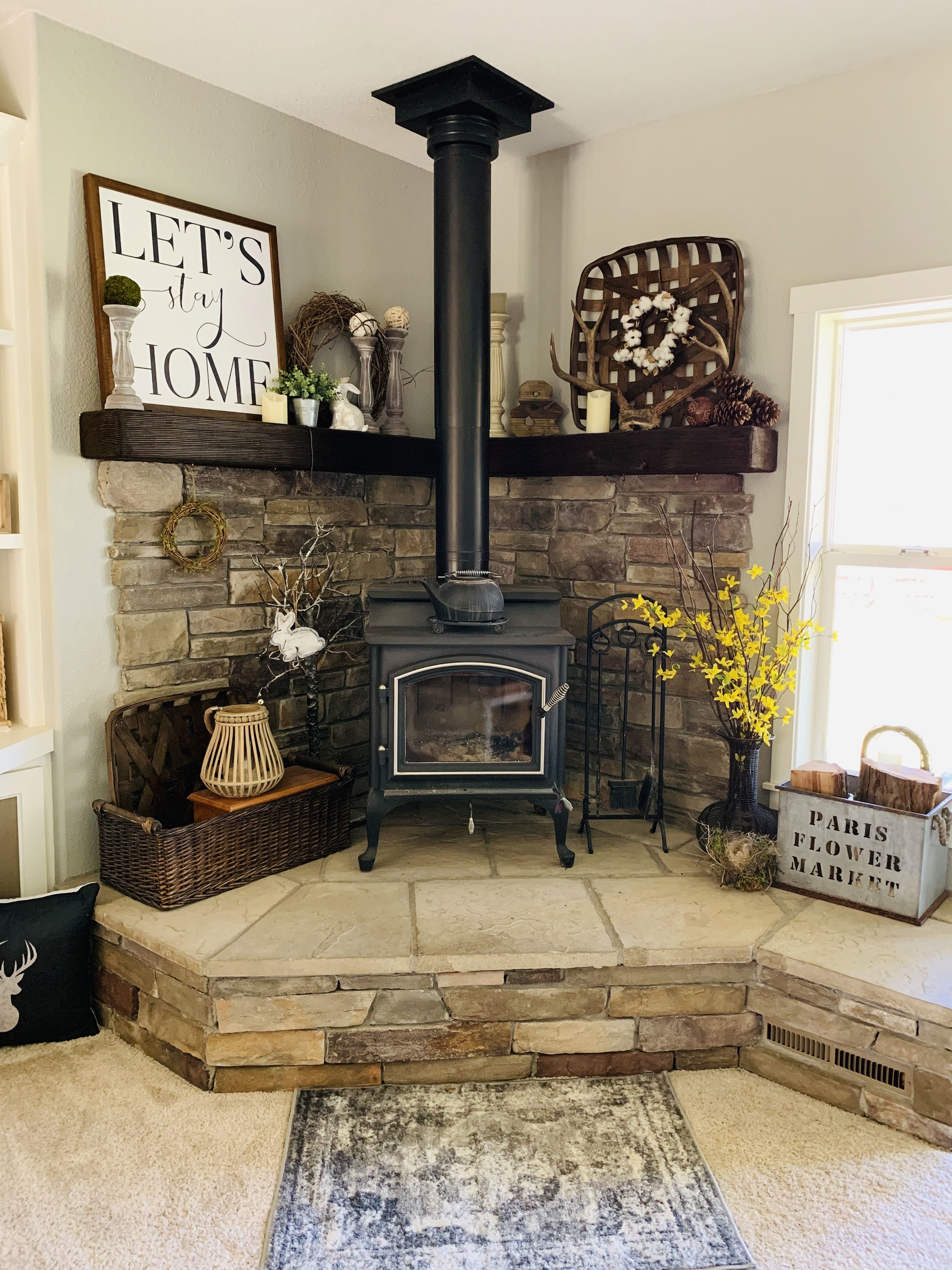 Pin By Sherry Bleer On House Wood Stove Decor Corner Wood Stove Stove Decor