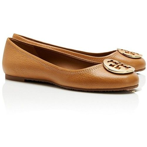 Tory Burch Tumbled Leather Reva Ballet ❤ liked on Polyvore (see more  leather ballet flats