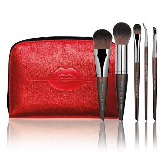 The foundation of every good makeup look has everything to do with the brushes that were used to apply it. This cute lip-printed bag includes five applicators—for foundation, highlighter, eyeliner, brow powder and eyeshadow—and has a pocket for each brush to ensure that all stays clean and organized.