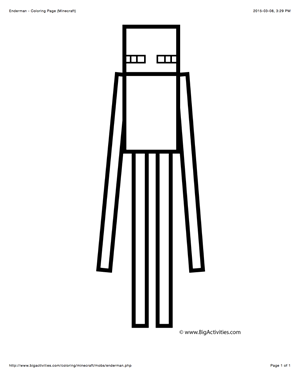 Minecraft Coloring Page With A Picture Of An Enderman To